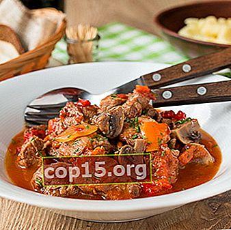 Kött med svamp och paprika