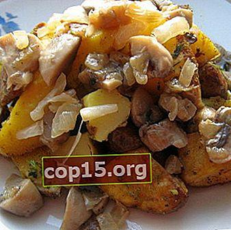 Recept för rätter med potatis, svamp och grönsaker