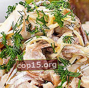 Hartige salades met vlees en champignons