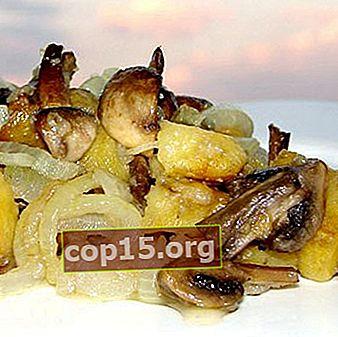 Gebakken aardappelen met champignons in een pan: kookrecepten