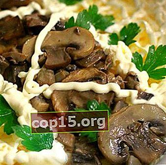 Gebakken champignonsalades: stap voor stap recepten