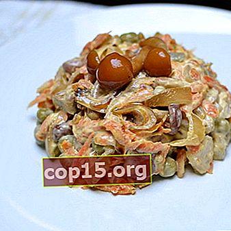 Deliziose insalate di funghi con funghi fritti