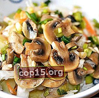 Salades de champignons marinés: recettes maison